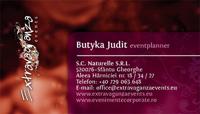 Extravaganza Events business card graphic design