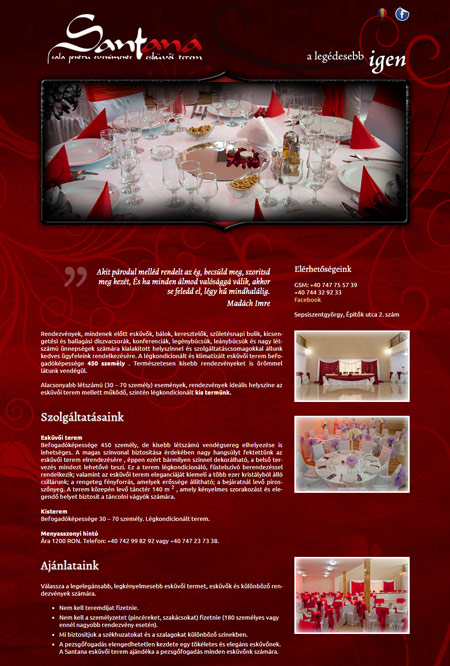www.santanarestaurant.ro web design